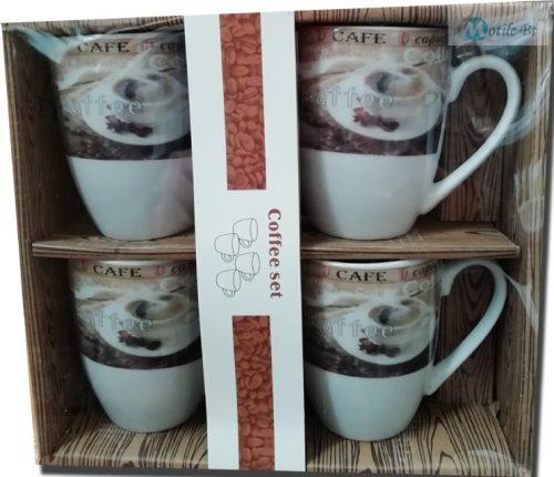 Cappuccino bögre szett porcelán 4 db-os
