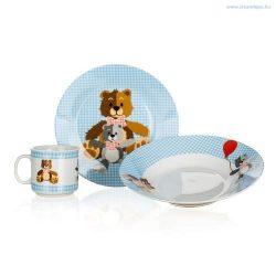 Étkészlet porcelánból 3 részes gyerek Maci