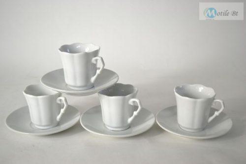 Kávés szett fehér kerámia 4 személyes