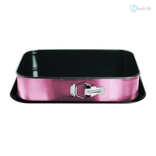 Berlinger Haus I-Rose Collection kapcsos szögletes tortaforma titán bevonattal, alátéttel, pink