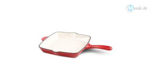 Berlinger Haus Strong Mold Seria öntöttvas grill serpenyő zománcozott bevonattal, piros/fehér