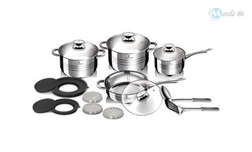 BLAUMANN Blaumann Gourmet Line 15 részes rozsdamentes acél edénykészlet szatén díszcsíkokkal