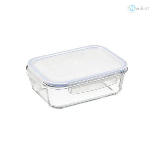 Üveg ételtartó műanyag fedéllel 1 L